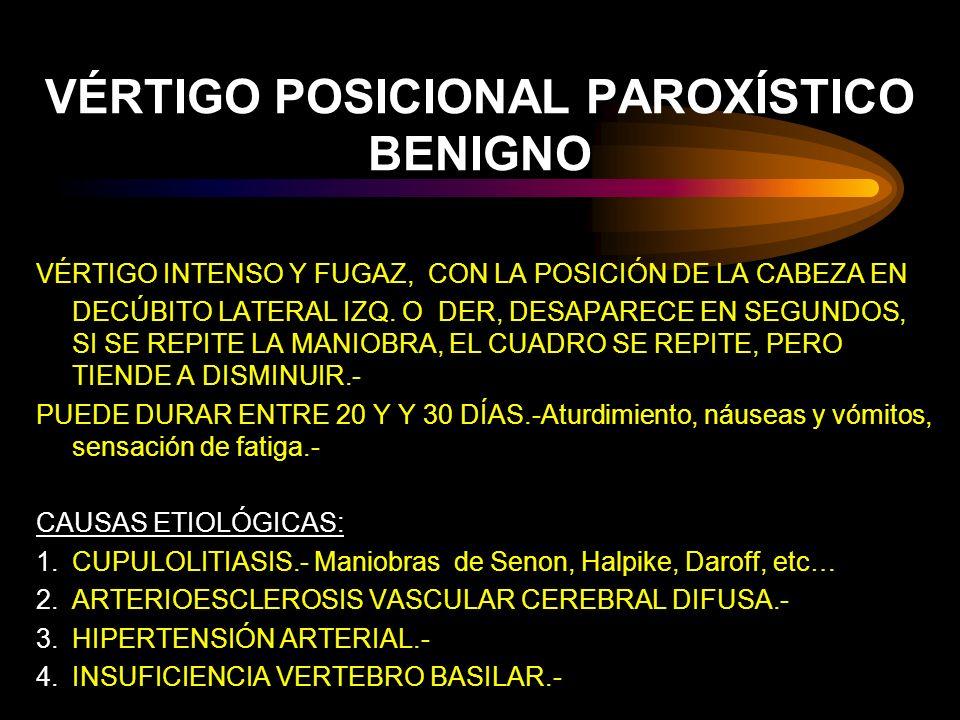 VÉRTIGO POSICIONAL PAROXÍSTICO BENIGNO VÉRTIGO INTENSO Y FUGAZ, CON LA POSICIÓN DE LA CABEZA EN DECÚBITO LATERAL IZQ. O DER, DESAPARECE EN SEGUNDOS, S