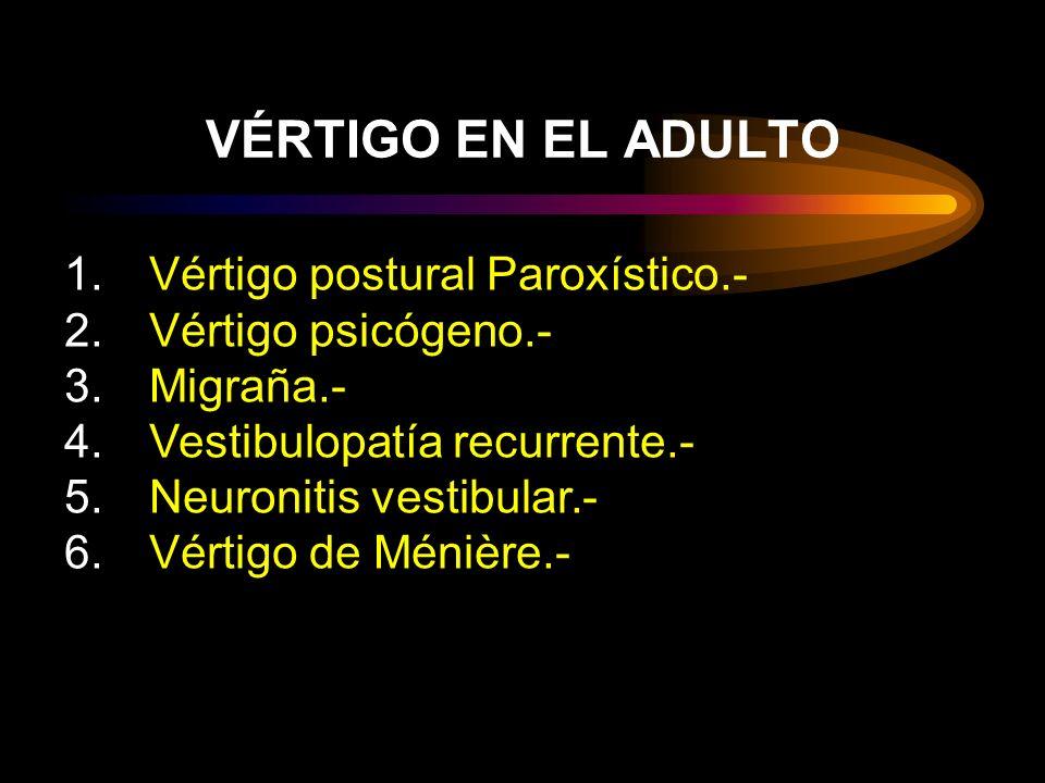 1.Vértigo postural Paroxístico.- 2.Vértigo psicógeno.- 3.Migraña.- 4.Vestibulopatía recurrente.- 5.Neuronitis vestibular.- 6.Vértigo de Ménière.- VÉRTIGO EN EL ADULTO
