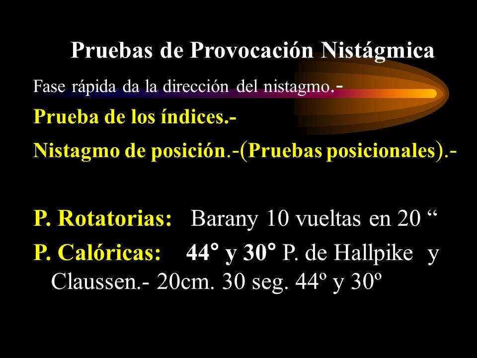 Pruebas de Provocación Nistágmica Fase rápida da la dirección del nistagmo.- Prueba de los índices.- Nistagmo de posición.-( Pruebas posicionales ).-