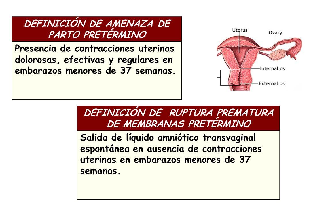 DEFINICIÓN DE AMENAZA DE PARTO PRETÉRMINO Presencia de contracciones uterinas dolorosas, efectivas y regulares en embarazos menores de 37 semanas. DEF