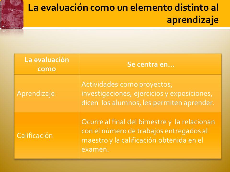 La evaluación como un elemento distinto al aprendizaje
