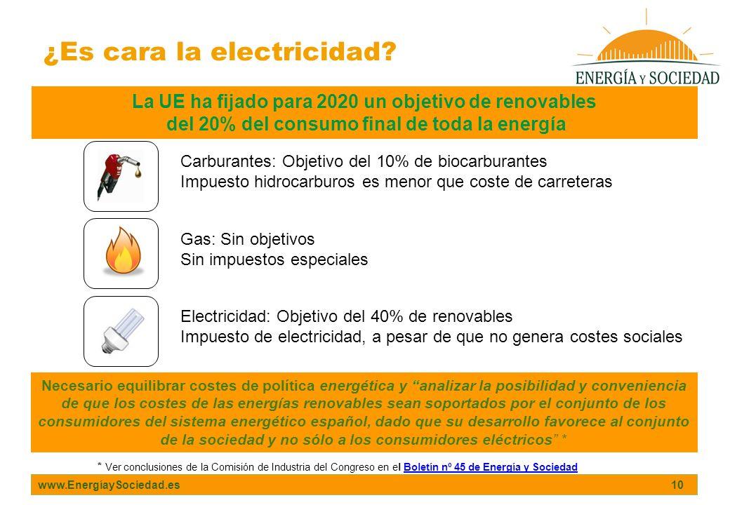 www.EnergíaySociedad.es 10 ¿Es cara la electricidad? La UE ha fijado para 2020 un objetivo de renovables del 20% del consumo final de toda la energía