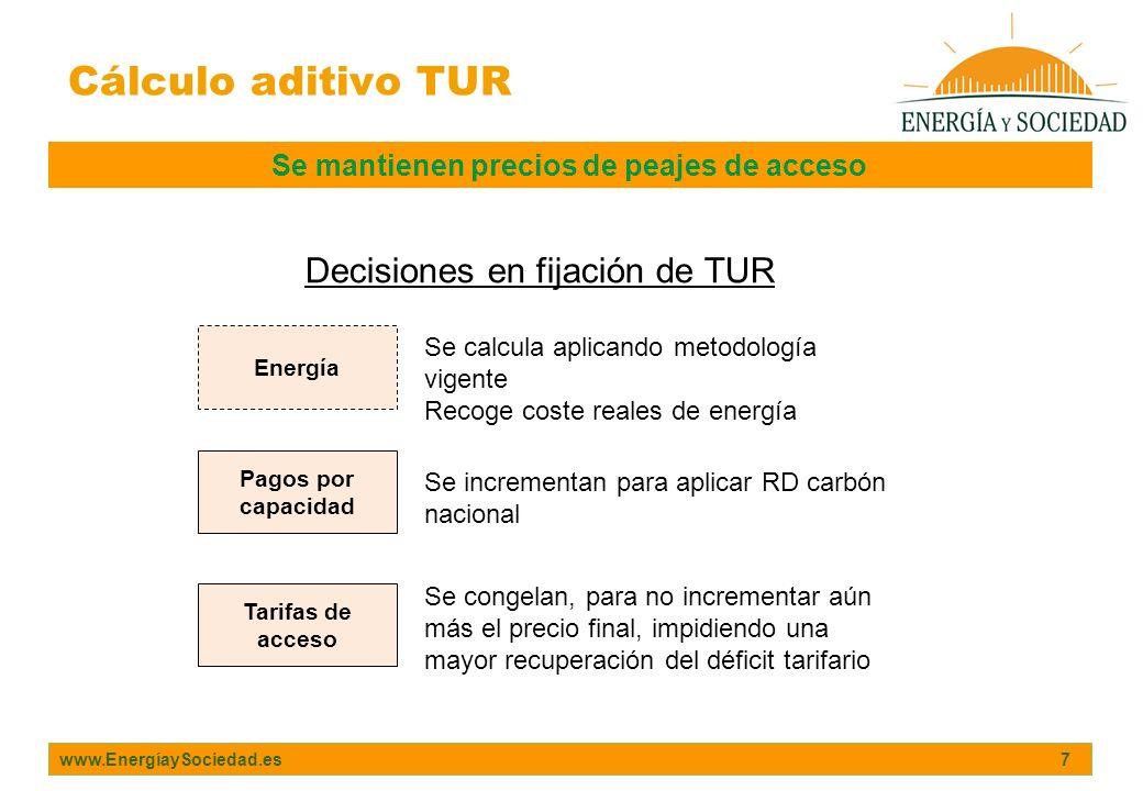 www.EnergíaySociedad.es 7 Cálculo aditivo TUR Se mantienen precios de peajes de acceso Energía Pagos por capacidad Tarifas de acceso Decisiones en fij
