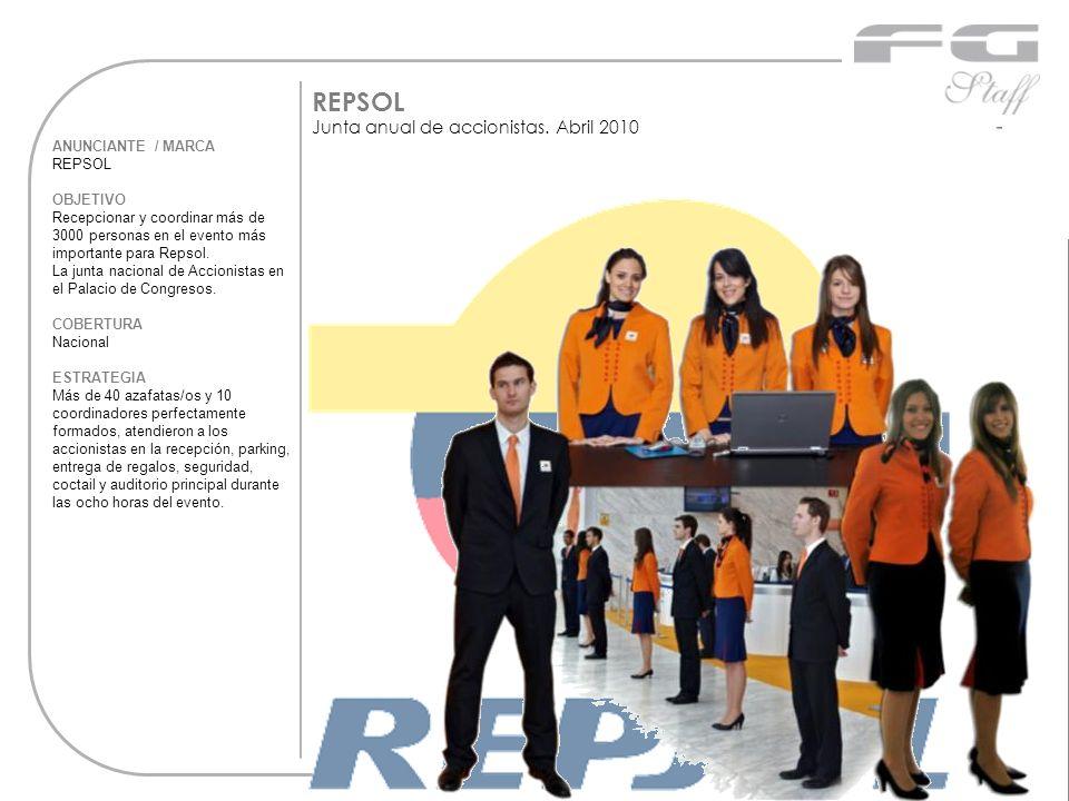 ANUNCIANTE / MARCA REPSOL OBJETIVO Recepcionar y coordinar más de 3000 personas en el evento más importante para Repsol. La junta nacional de Accionis