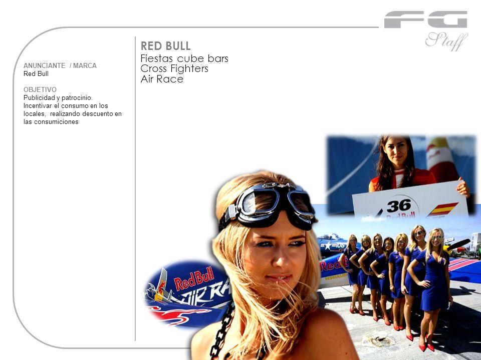 ANUNCIANTE / MARCA Red Bull OBJETIVO Publicidad y patrocinio. Incentivar el consumo en los locales, realizando descuento en las consumiciones RED BULL