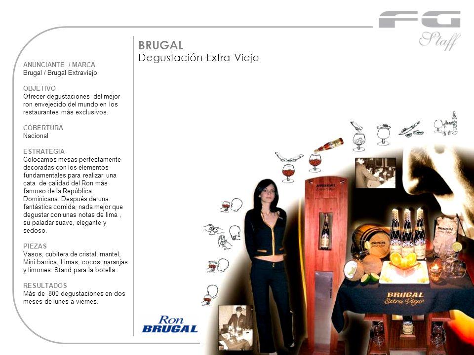 ANUNCIANTE / MARCA Brugal / Brugal Extraviejo OBJETIVO Ofrecer degustaciones del mejor ron envejecido del mundo en los restaurantes más exclusivos. CO