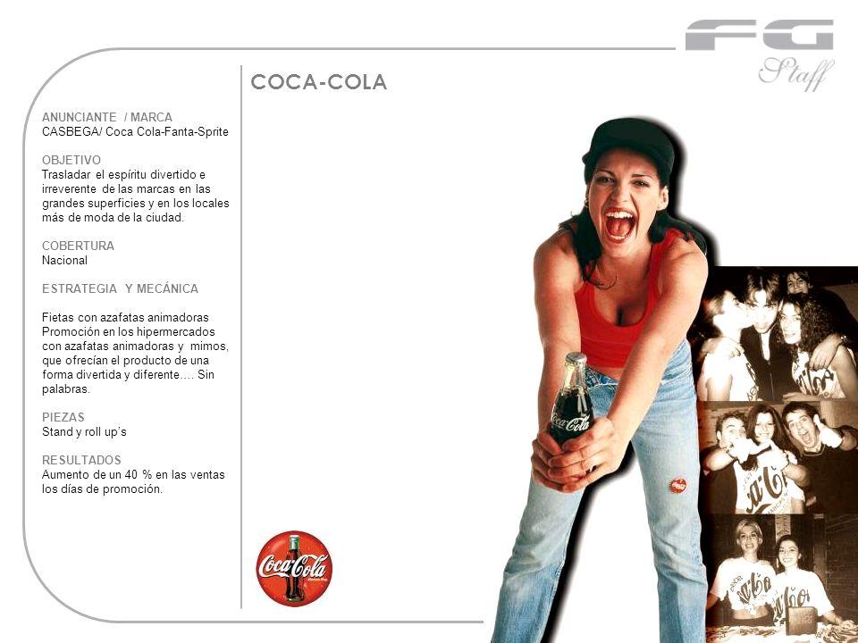 COCA-COLA ANUNCIANTE / MARCA CASBEGA/ Coca Cola-Fanta-Sprite OBJETIVO Trasladar el espíritu divertido e irreverente de las marcas en las grandes super
