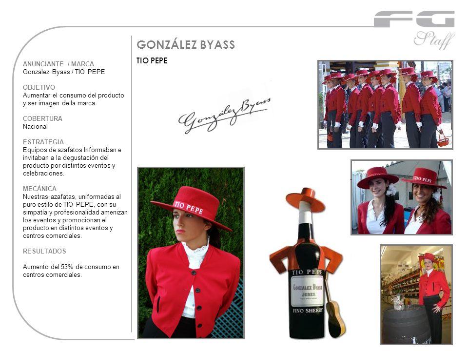 GONZÁLEZ BYASS TIO PEPE ANUNCIANTE / MARCA Gonzalez Byass / TIO PEPE OBJETIVO Aumentar el consumo del producto y ser imagen de la marca. COBERTURA Nac