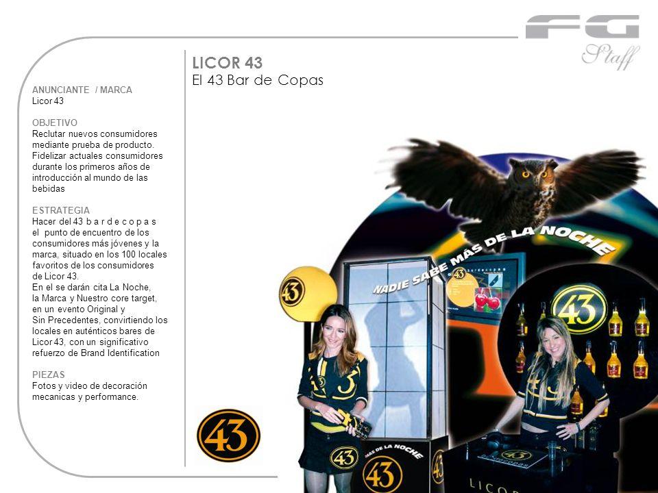 ANUNCIANTE / MARCA Licor 43 OBJETIVO Reclutar nuevos consumidores mediante prueba de producto. Fidelizar actuales consumidores durante los primeros añ
