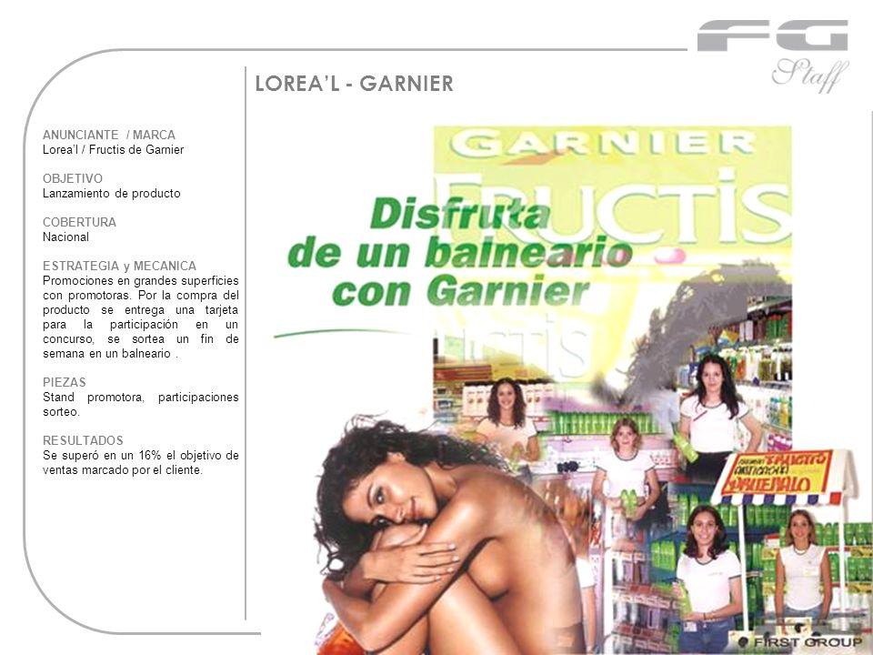 LOREAL - GARNIER ANUNCIANTE / MARCA Loreal / Fructis de Garnier OBJETIVO Lanzamiento de producto COBERTURA Nacional ESTRATEGIA y MECANICA Promociones