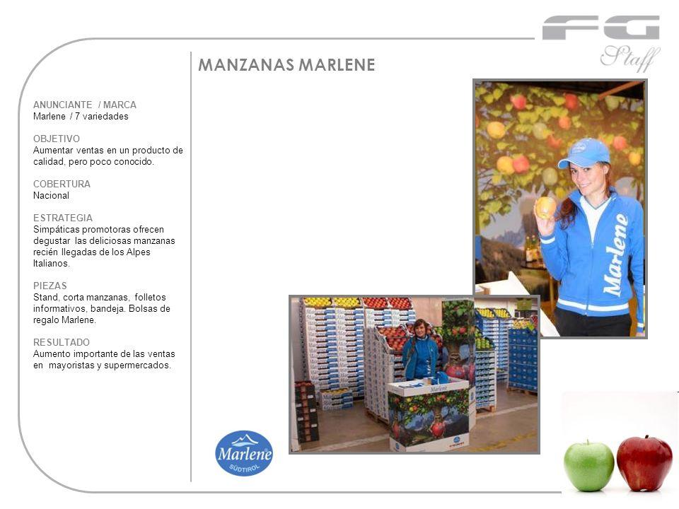 MANZANAS MARLENE ANUNCIANTE / MARCA Marlene / 7 variedades OBJETIVO Aumentar ventas en un producto de calidad, pero poco conocido. COBERTURA Nacional