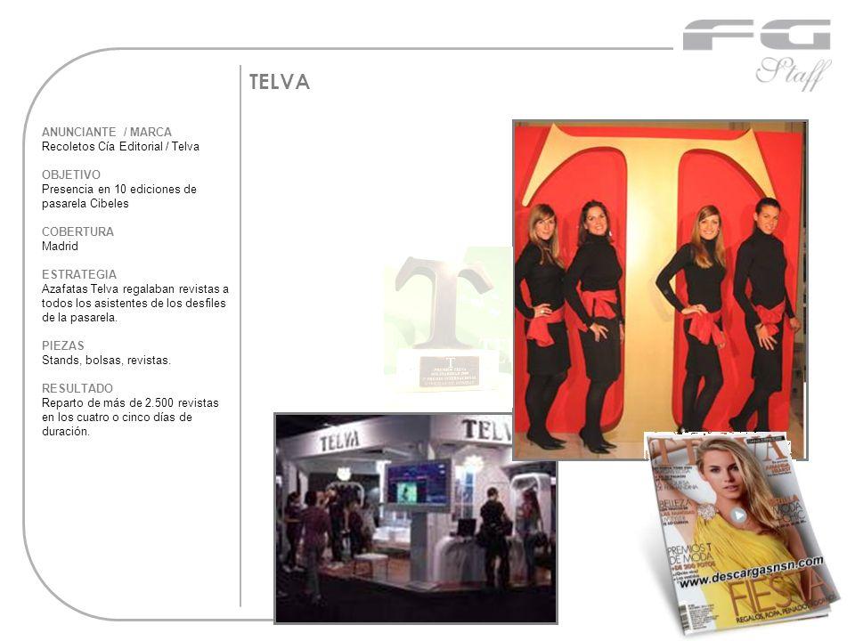 TELVA ANUNCIANTE / MARCA Recoletos Cía Editorial / Telva OBJETIVO Presencia en 10 ediciones de pasarela Cibeles COBERTURA Madrid ESTRATEGIA Azafatas T