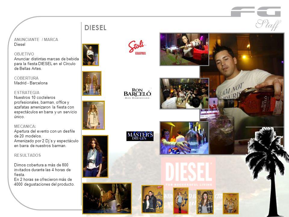 DIESEL ANUNCIANTE / MARCA Diesel OBJETIVO Anunciar distintas marcas de bebida para la fiesta DIESEL en el Círculo de Bellas Artes. COBERTURA Madrid -
