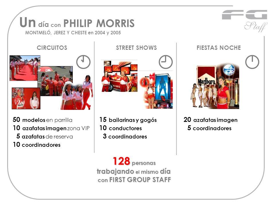 Un día con PHILIP MORRIS MONTMELÓ, JEREZ Y CHESTE en 2004 y 2005 CIRCUITOS 50 modelos en parrilla 10 azafatas imagen zona VIP 5 azafatas de reserva 10