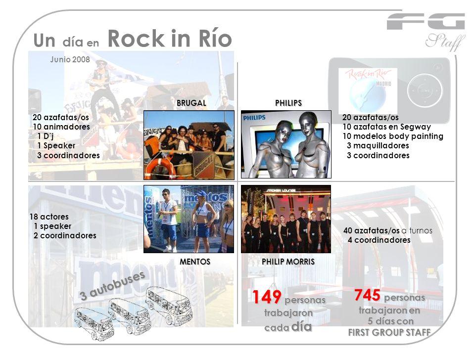 Un día en Rock in Río BRUGAL MENTOS PHILIP MORRIS BRUGALPHILIPS MENTOS 20 azafatas/os 10 animadores 1 D´j 1 Speaker 3 coordinadores 20 azafatas/os 10