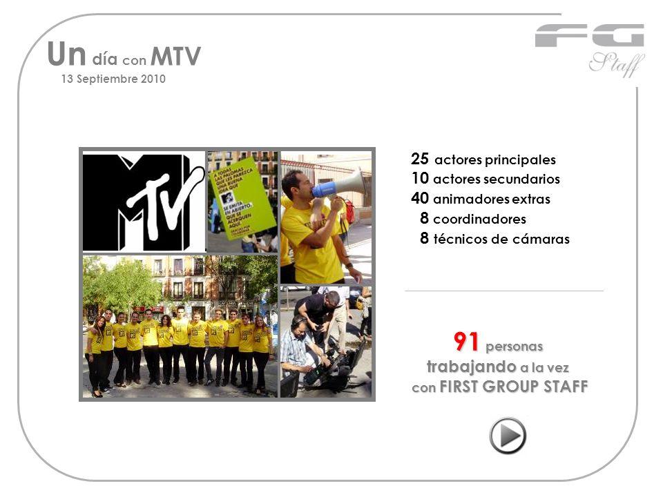 Un día con MTV 13 Septiembre 2010 25 actores principales 10 actores secundarios 40 animadores extras 8 coordinadores 8 técnicos de cámaras 91 personas