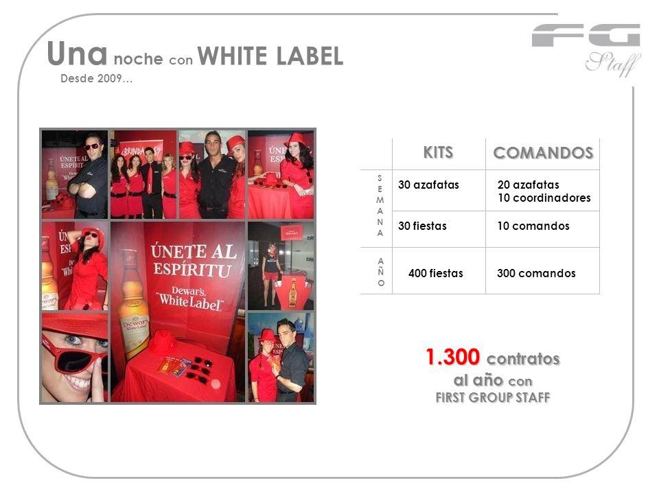 Una noche con WHITE LABEL Desde 2009… 30 azafatas KITS COMANDOS 30 fiestas 20 azafatas 10 coordinadores 10 comandos SEMANASEMANA AÑOAÑO 400 fiestas 30