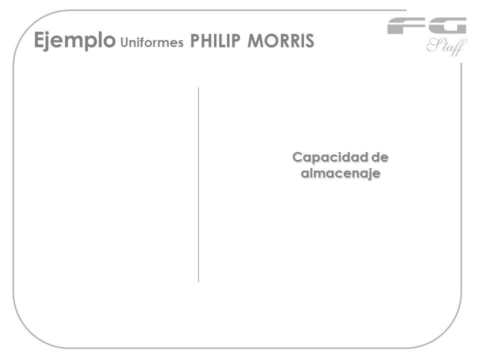 Ejemplo Uniformes PHILIP MORRIS Capacidad de almacenaje