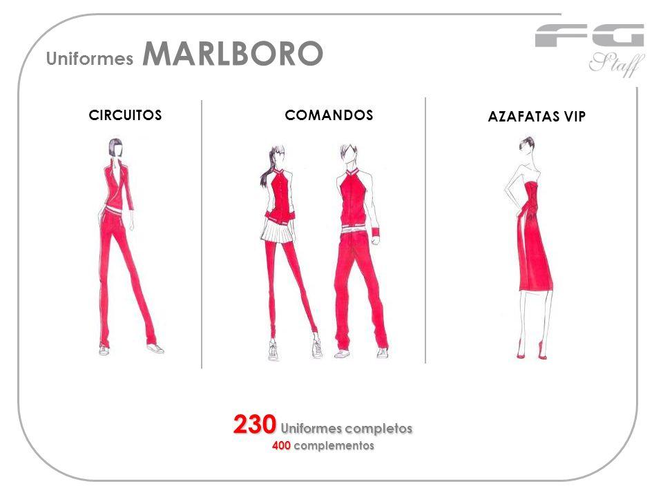 CIRCUITOSCOMANDOS 230 Uniformes completos 400 complementos AZAFATAS VIP Uniformes MARLBORO