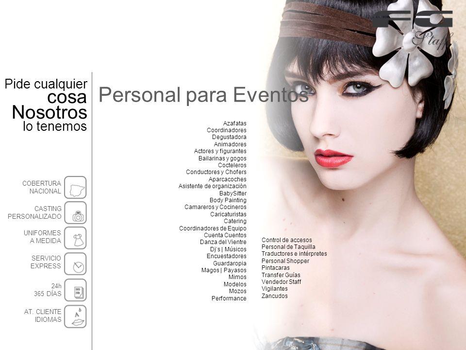Personal para Eventos Control de accesos Personal de Taquilla Traductores e intérpretes Personal Shopper Pintacaras Transfer Guías Vendedor Staff Vigi