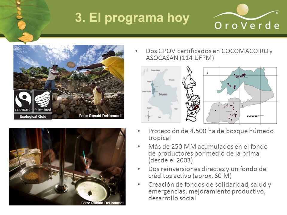 Dos GPOV certificados en COCOMACOIRO y ASOCASAN (114 UFPM) Protección de 4.500 ha de bosque húmedo tropical Más de 250 MM acumulados en el fondo de productores por medio de la prima (desde el 2003) Dos reinversiones directas y un fondo de créditos activo (aprox.