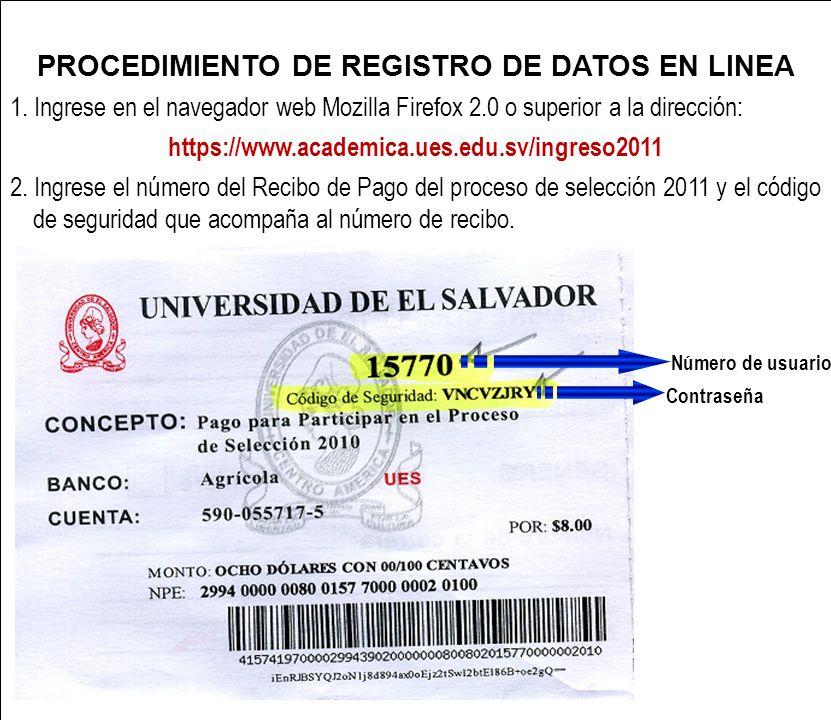 PROCEDIMIENTO DE REGISTRO DE DATOS EN LINEA 1.