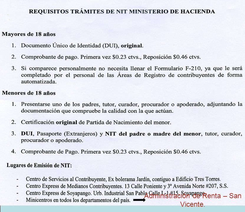 Administración de Renta – San Vicente.