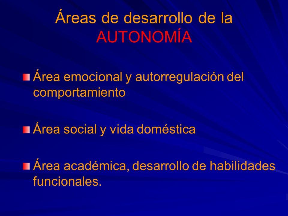 Áreas de desarrollo de la AUTONOMÍA Área emocional y autorregulación del comportamiento Área social y vida doméstica Área académica, desarrollo de habilidades funcionales.