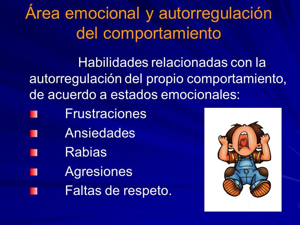 Área emocional y autorregulación del comportamiento Habilidades relacionadas con la autorregulación del propio comportamiento, de acuerdo a estados emocionales: Frustraciones Ansiedades Rabias Agresiones Faltas de respeto.