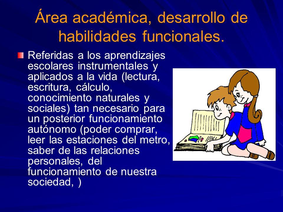 Área académica, desarrollo de habilidades funcionales. Referidas a los aprendizajes escolares instrumentales y aplicados a la vida (lectura, escritura