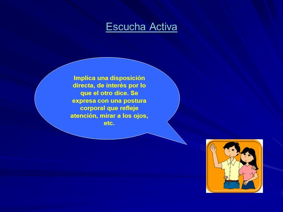 Escucha Activa Implica una disposición directa, de interés por lo que el otro dice. Se expresa con una postura corporal que refleje atención, mirar a