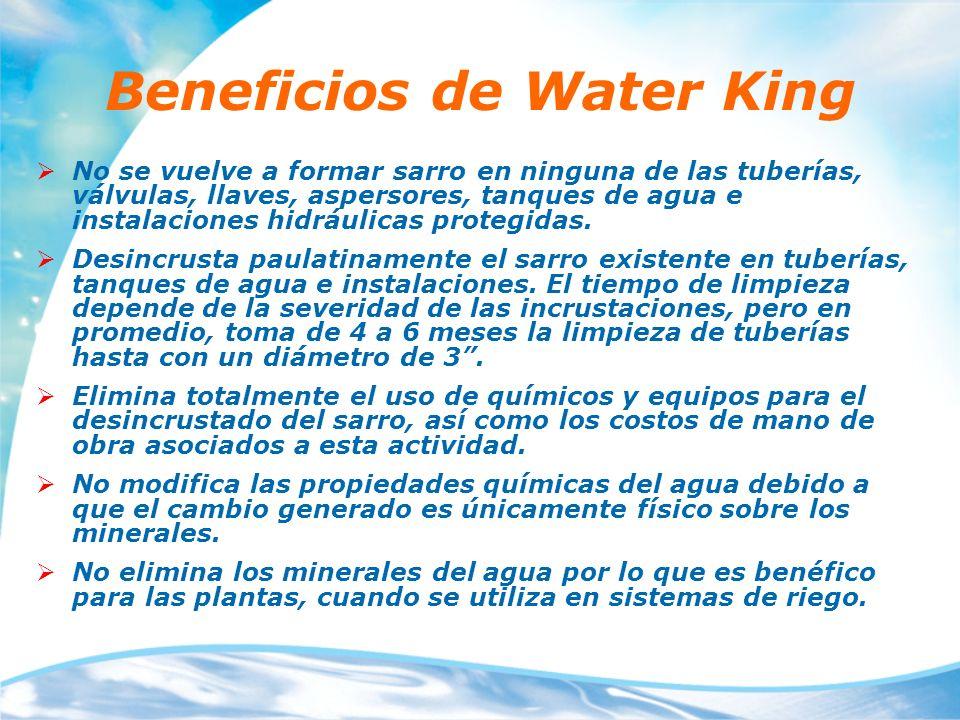Beneficios de Water King No se vuelve a formar sarro en ninguna de las tuberías, válvulas, llaves, aspersores, tanques de agua e instalaciones hidrául