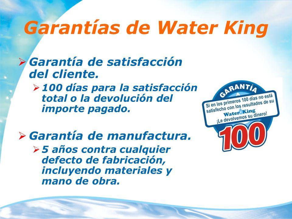 Garantías de Water King Garantía de satisfacción del cliente. 100 días para la satisfacción total o la devolución del importe pagado. Garantía de manu