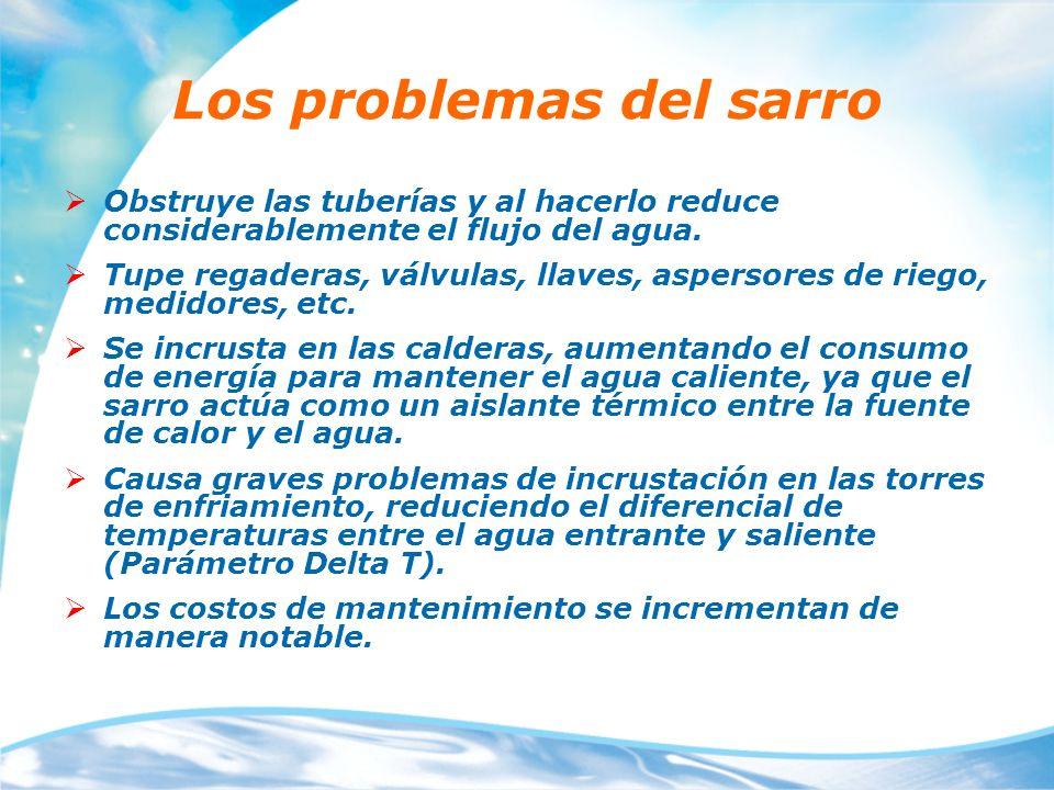 Los problemas del sarro Obstruye las tuberías y al hacerlo reduce considerablemente el flujo del agua. Tupe regaderas, válvulas, llaves, aspersores de