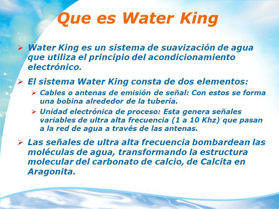 Que es Water King Water King es un sistema de suavización de agua que utiliza el principio del acondicionamiento electrónico. El sistema Water King co