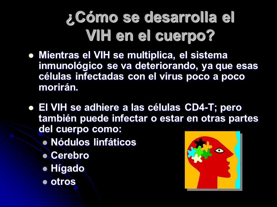 ¿Cómo se desarrolla el VIH en el cuerpo? El HIV/SIDA entra en el organismo. El HIV/SIDA entra en el organismo. Utiliza el DNA (material genético) que