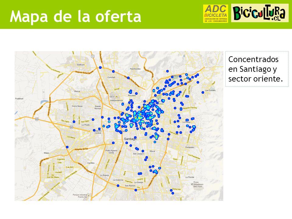 Mapa de la oferta Concentrados en Santiago y sector oriente.