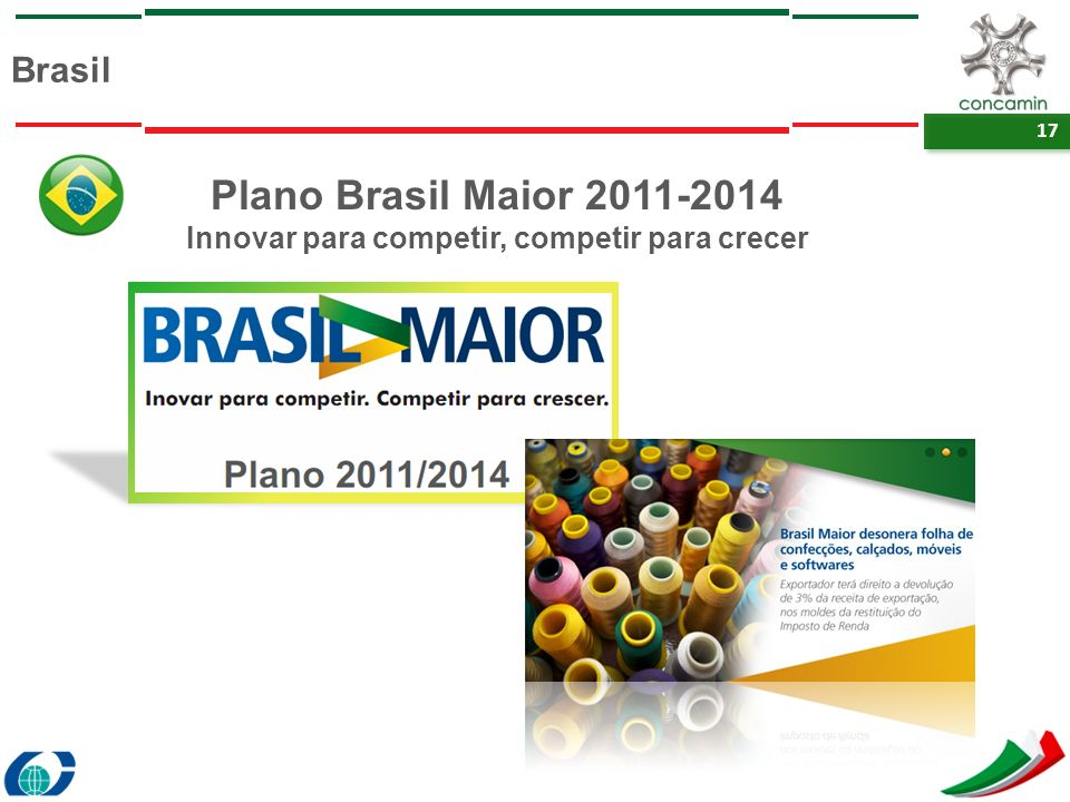 17 Brasil Plano Brasil Maior 2011-2014 Innovar para competir, competir para crecer