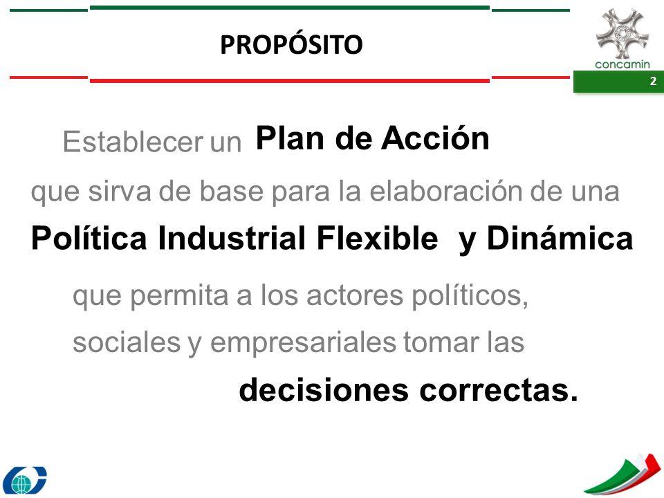 2 2 PROPÓSITO Establecer un Plan de Acción que sirva de base para la elaboración de una Política Industrial Flexible y Dinámica que permita a los acto