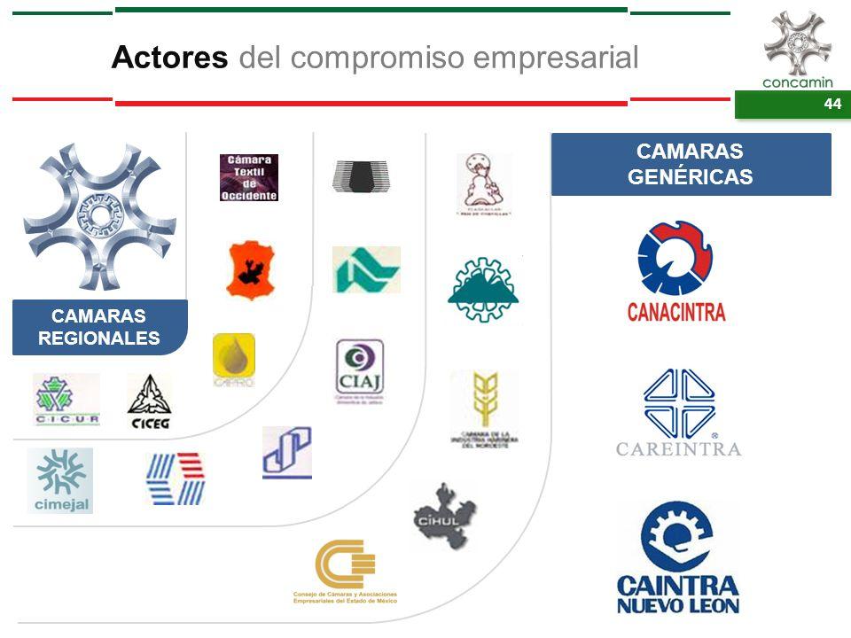44 Actores del compromiso empresarial CAMARAS REGIONALES CAMARAS GENÉRICAS