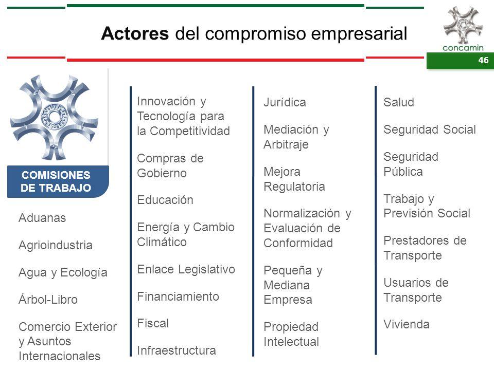 46 Actores del compromiso empresarial COMISIONES DE TRABAJO Aduanas Agrioindustria Agua y Ecología Árbol-Libro Comercio Exterior y Asuntos Internacion