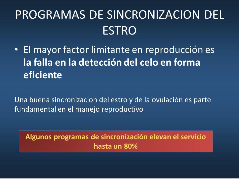 PROGRAMAS DE SINCRONIZACION DEL ESTRO El mayor factor limitante en reproducción es la falla en la detección del celo en forma eficiente Una buena sinc