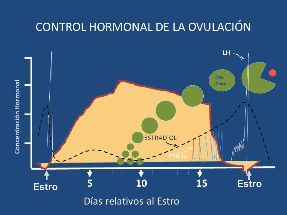 1510 Concentración Hormonal 5 Estro CONTROL HORMONAL DE LA OVULACIÓN 2 da Onda Días relativos al Estro Estro LH PGF 2α ESTRADIOL