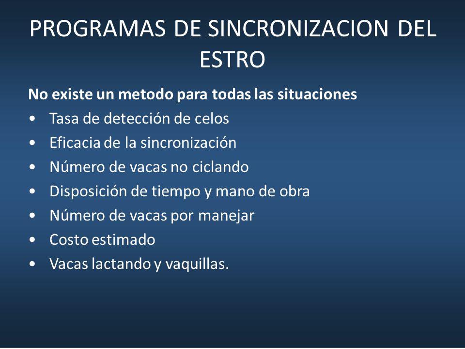 PROGRAMAS DE SINCRONIZACION DEL ESTRO No existe un metodo para todas las situaciones Tasa de detección de celos Eficacia de la sincronización Número d