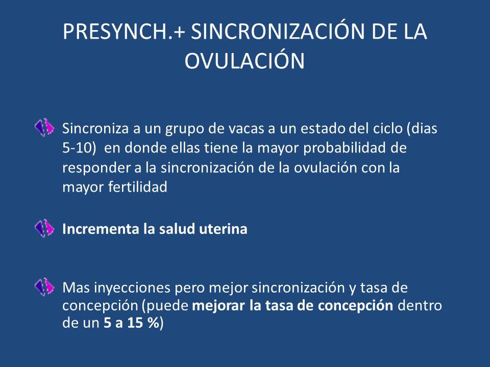 Mas inyecciones pero mejor sincronización y tasa de concepción (puede mejorar la tasa de concepción dentro de un 5 a 15 %) Sincroniza a un grupo de va
