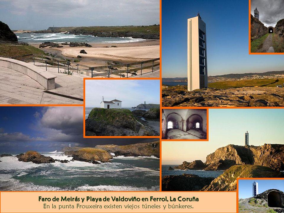 Faro de Meirás y Playa de Valdoviño en Ferrol, La Coruña Faro de Meirás y Playa de Valdoviño en Ferrol, La Coruña En la punta Frouxeira existen viejos túneles y búnkeres.