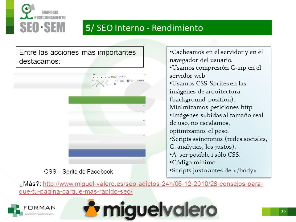 15 5/ SEO Interno - Rendimiento CSS – Sprite de Facebook Cacheamos en el servidor y en el navegador del usuario.
