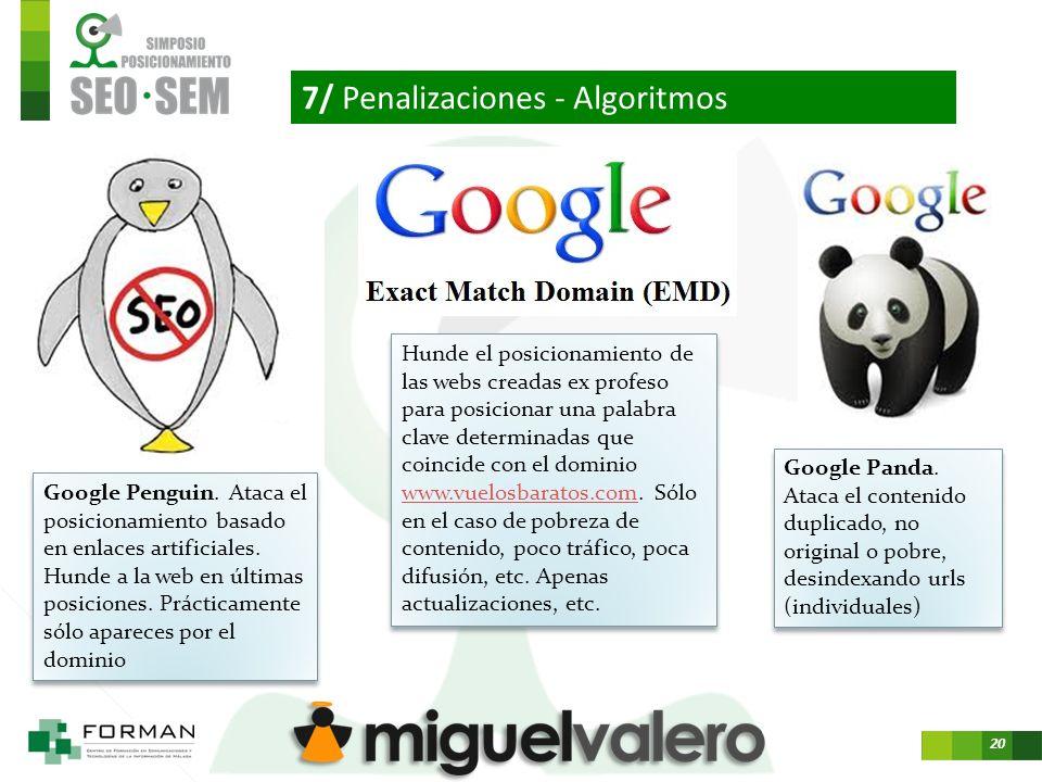 20 7/ Penalizaciones - Algoritmos Google Panda.