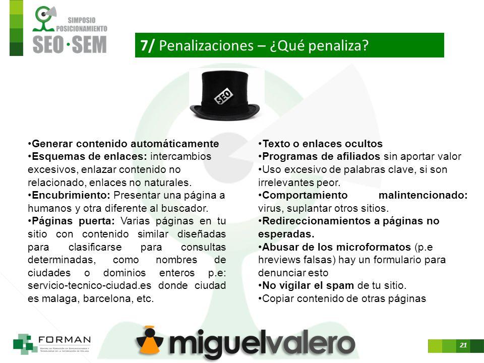 21 7/ Penalizaciones – ¿Qué penaliza.