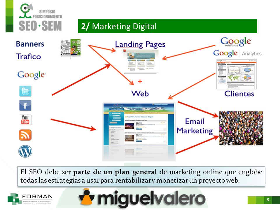 5 2/ Marketing Digital El SEO debe ser parte de un plan general de marketing online que englobe todas las estrategias a usar para rentabilizar y monetizar un proyecto web.